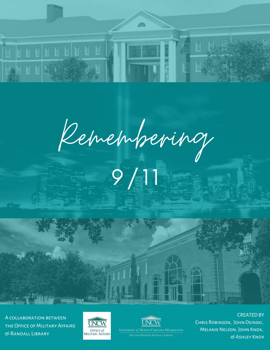 """Campus buildings and the New York City skyline behind the words """"Remembering 9/11"""""""